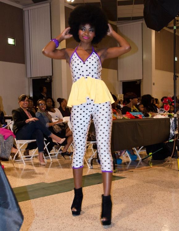 Purple polk jumpsuit-yellow skirt